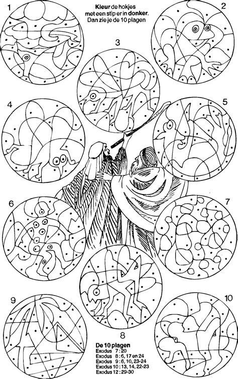 bible coloring pages plagues of egypt mozes 10 plagen kleur de vakjes met een stip moses 10