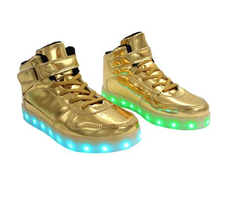 Gold Led Shoes galaxy led shoes light up usb charging high top lace