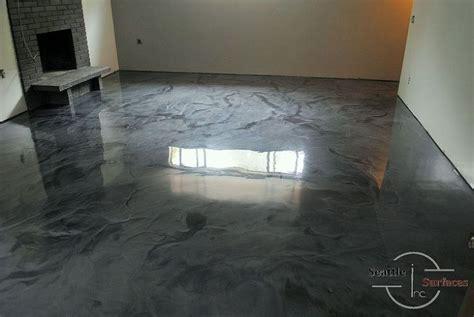 designer metallic epoxy basement floor