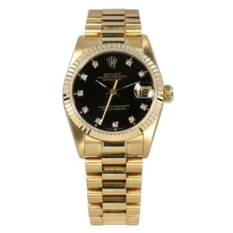 Rolex Oyster Perpetual Gold mid size pre owned rolex 18ct yellow gold oyster perpetual