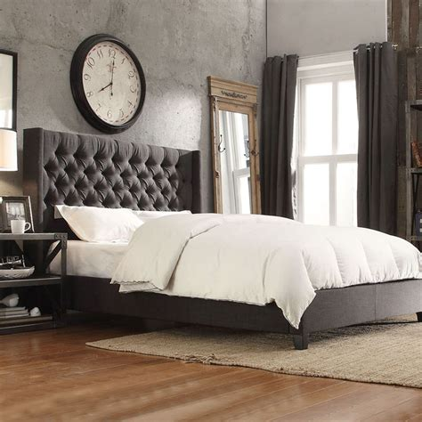 gray upholstered bed inspire q naples dark gray linen wingback button tufted