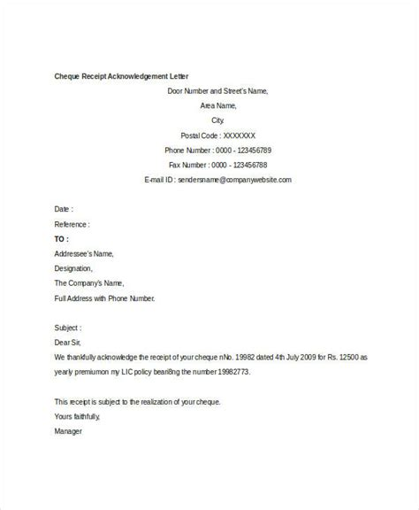template receipt of payment letter receipt acknowledgement letter templates 10 free word