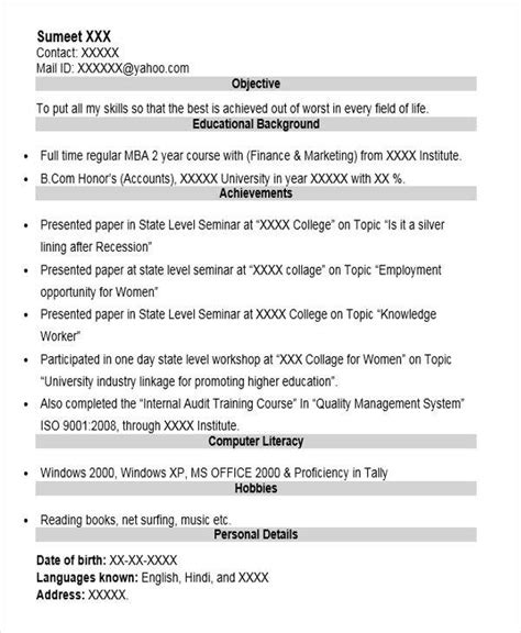 Mba Lecturer by 40 Fresher Resume Exles