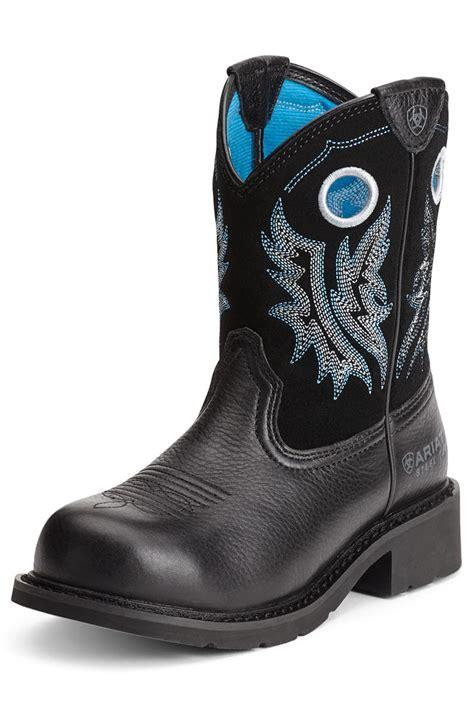ariat steel toe boots womens ariat womens fatbaby steel toe black deertan