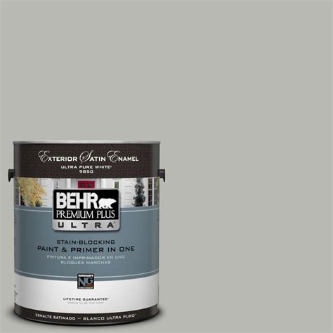 behr premium plus ultra 1 gal ul260 18 classic silver satin enamel exterior paint 985001 the