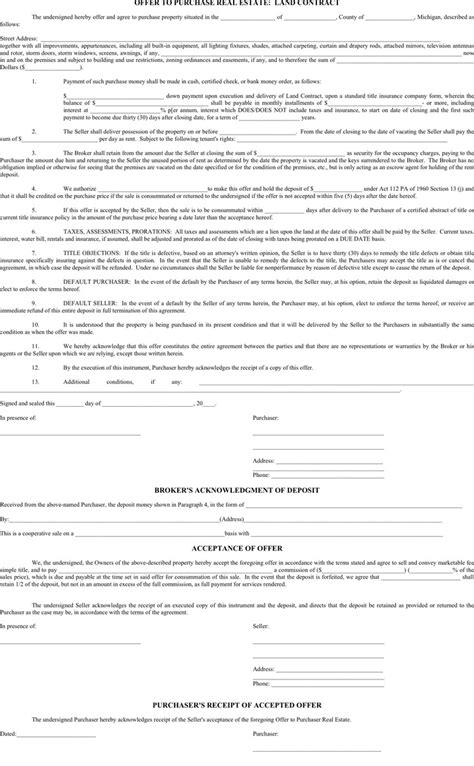 offer to purchase contract template michigan offer to purchase real estate form