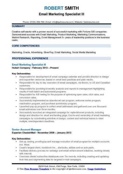 email marketing specialist resume sles qwikresume