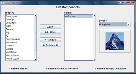java swing components java gui list components