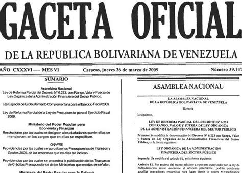 ultima hora gaceta oficial publica modificaciones de la portada de la gaceta oficial n 176 39 744
