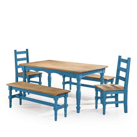 Blue Dining Table Set Manhattan Comfort 5 Blue Wash Solid Wood Dining Set With 2 Benches 2 Chairs And 1