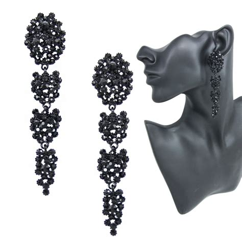 black earrings with stones fashion big