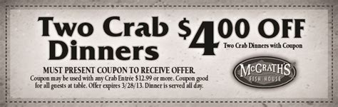 mcgraths fish house mcgrath s fish house crab dinner coupon print coupon king
