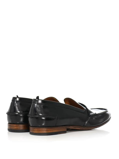 mcqueen loafers lyst mcqueen leather loafers in black