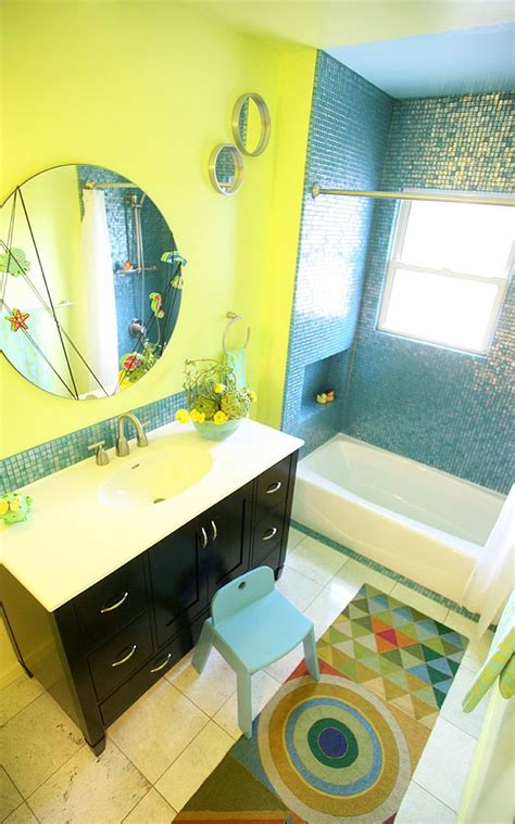 yellow and blue bathroom trendy twist to a timeless color scheme bathrooms in blue