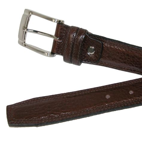 mens italian leather padded belt with stitch detail by