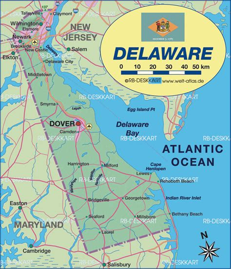 detailed map of delaware map of delaware united states usa map in the atlas of