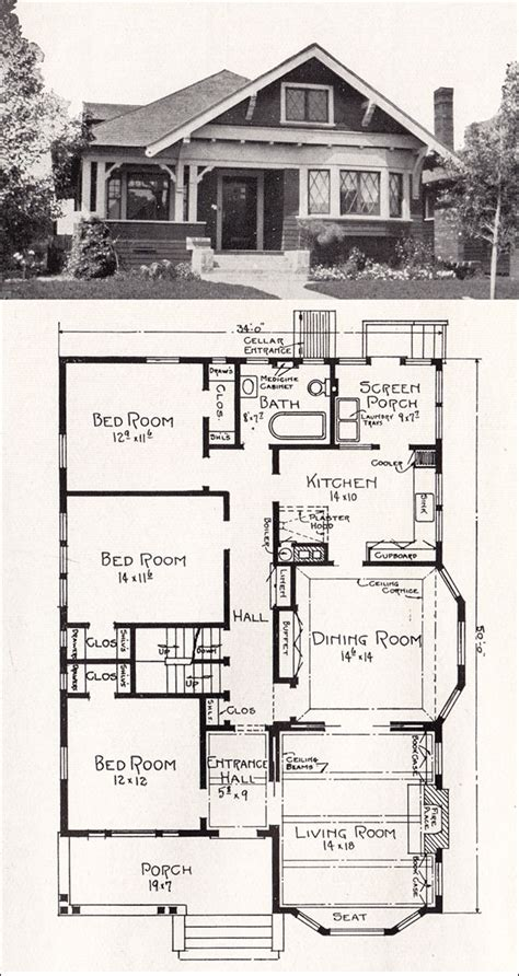 vintage craftsman house plans vintage bungalow floor plans