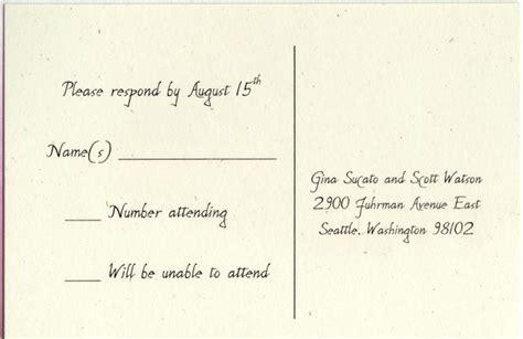 wedding invitation wording response card rsvp sle rsvp cards for wedding invitations