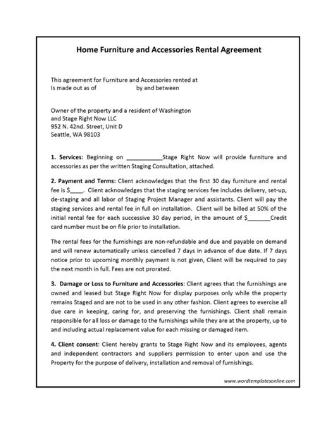 Rental Contract Template Rental Agreement Template