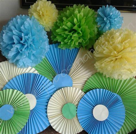 con lazos y pompones su abanicos rosetas y pompones de 20 cm globos de papel bs