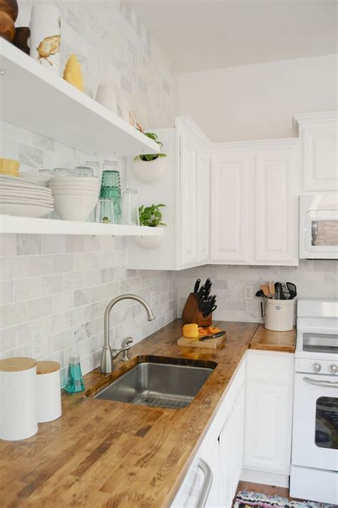 open shelving cabinets and wood countertops on pinterest