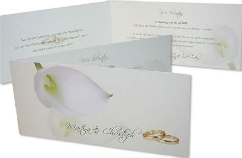 Hochzeitseinladung Ringe by Hochzeitseinladung Calla Goldringe