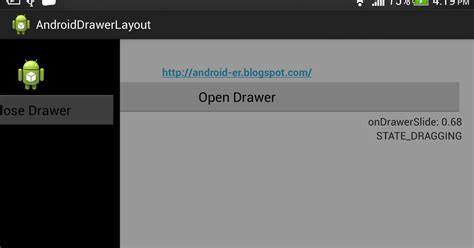 android layout context android er android drawerlayout and drawerlistener
