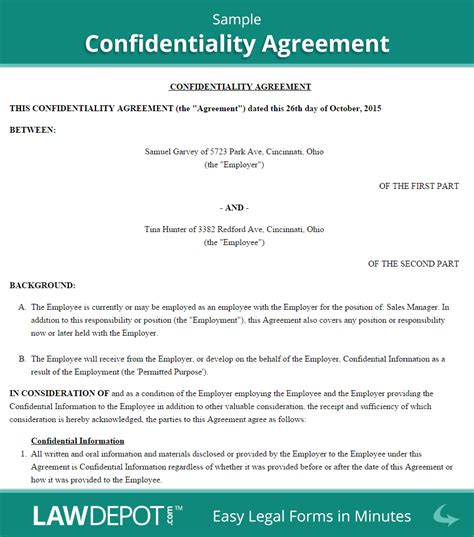 privacy contract template confidentiality agreement form us lawdepot