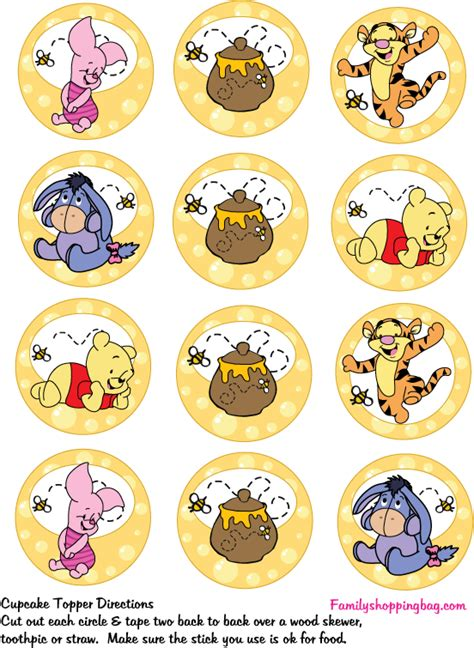 Shower Cap Pooh cupcake toppers 1 winnie the pooh baby shower