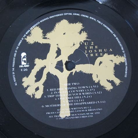 Island County Records U2 Joshua Tree Island Records Label Every Record Tells A