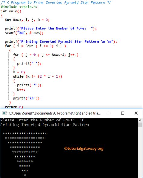 star pattern in java with explanation c program to print inverted pyramid star pattern
