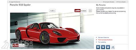 Porsche 918 Configurator by Porsche 918 Spyder Configurator Goes Live Cars Uk