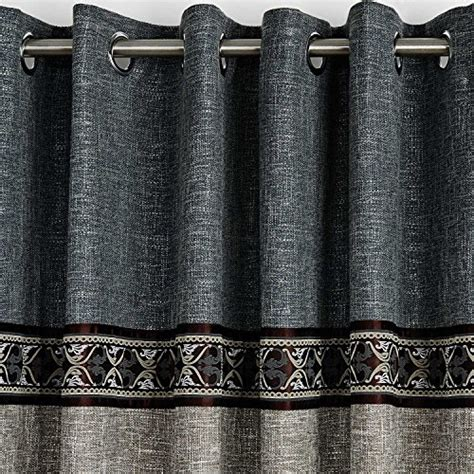 decorative trim for drapes twopages faux linen three pieced grey blue grommet curtain
