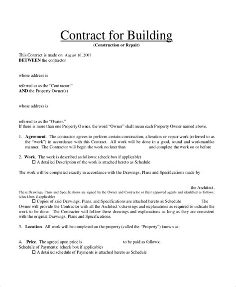 contract builder sle contract form 23 free documents in pdf doc