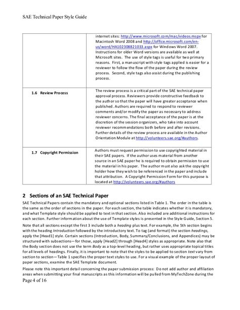 Sae Paper Style Guide Sae Technical Paper Template