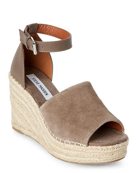 Steve Madden Wedges For by Lyst Steve Madden Taupe Jaylen Platform Wedge Espadrille Sandals In Brown
