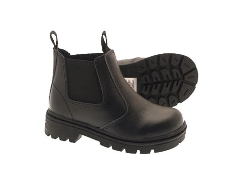new boys black school faux leather chelsea ankle boots