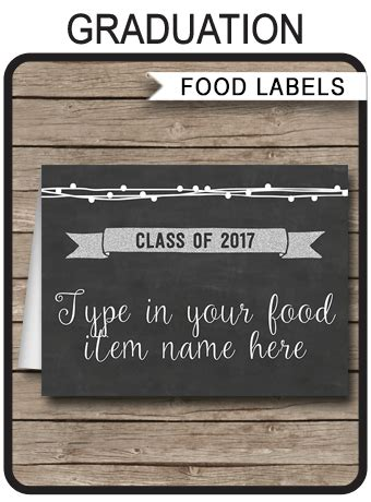 graduation place card template free printable graduation food labels place cards