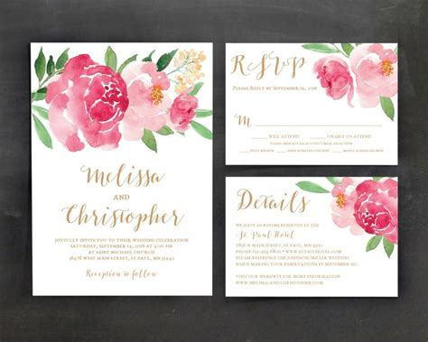 Printable Wedding Invitation Template Set Floral Wedding Floral Wedding Invitation Template