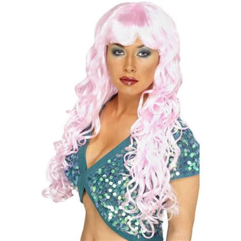 Dress Pink Curly new smiffys siren curly fancy dress wig pink