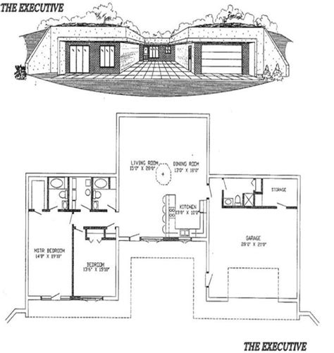 Earth Sheltered Home Plans by Earth Sheltered Homes The Executive Plans