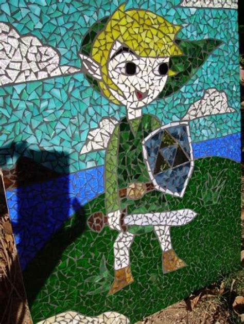 Wall Murals Diy zelda mosaic immortalizes link in stained glass technabob