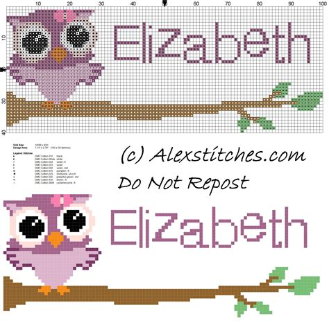 name pattern for cross stitch baby cross stitch name elizabeth with owl free download