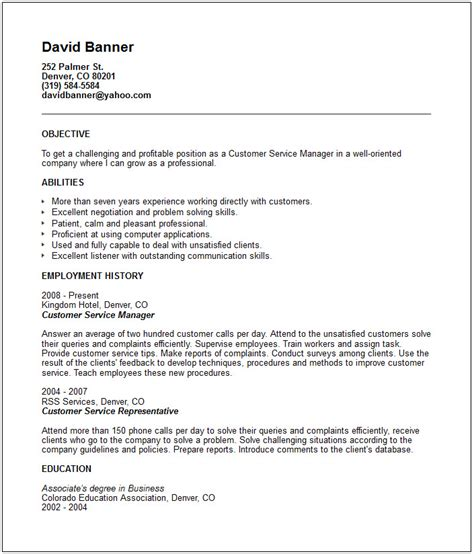 Resume Exles Objective For Customer Service Customer Service Resume Exle Free Templates Collection
