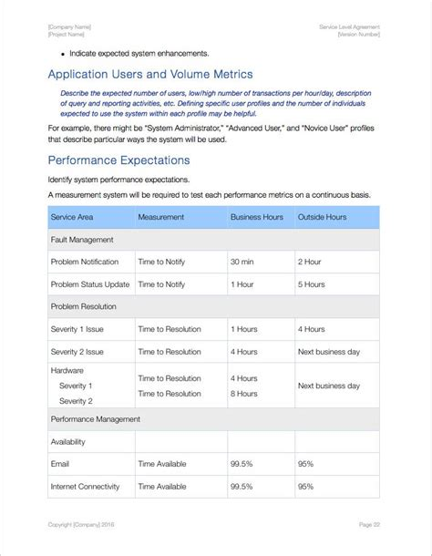 Service Level Agreement Template Apple Iwork Pages Numbers Sla Template For Software Development