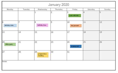 calendar template  excel  excelmadeeasy