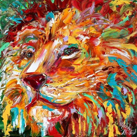 painting impressionism modern large original abstract impressionism animal portrait painting