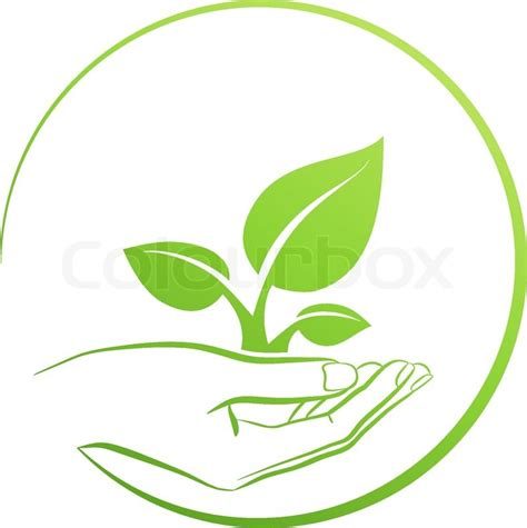 Sustainable Home Design Plans by Hand Holding Plant Logo Growth Concept Vector