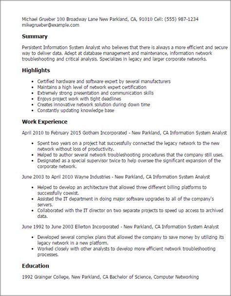 Resume Information by Professional Information Systems Analyst Templates To