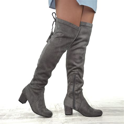 knee high boots without heel new womens the knee high stretch leg block
